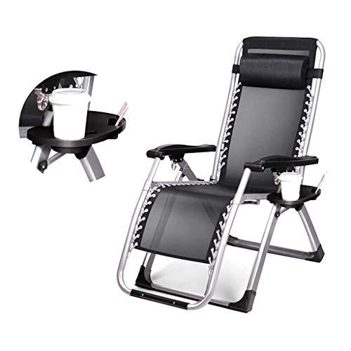 Zonnestoel Relaxer, Portable olding Outdoor Camping Sunlounger fauteuil stoelen met Kop en Phone Verstelbare Beach Garden zwembad Rest Recliner (Kleur: Zwart) zhihao (Color : Black)