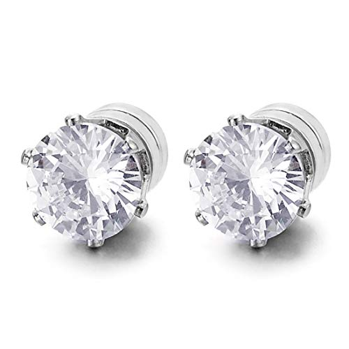 Mens Womens Magnetic Cubic Zirconia Stud Earrings, Steel, Non-Piercing Clip On Cheater Fake Ear