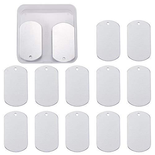BENECREAT 30 Pack Stanzen Rohlinge Aluminium Blank Anhanger fur Armband Ohrring Anhanger Charms Erkennungsmarken - 5,1x2,9 cm, Rechteck-Form