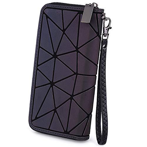 UTO-Frauen-Mappen-Karten-Telefon-Scheckheft-Halter-geometrischer leuchtender Scherbe-Gitter-Regenbogen-holographischer Geldbeutel 524