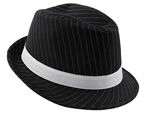Foxxeo schwarzer 20er Jahre Nadelstreifen Hut Größe 60