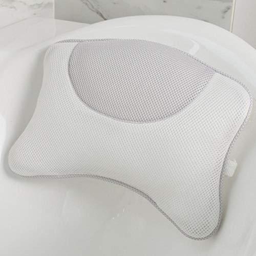 Oreiller de baignoire Almohada de baño Bañera apoyo for la cabeza con respaldo ventosa bacteriostática anti-ácaros del balneario del masaje del amortiguador de baño Accesorios-rosa Oreiller de Bain