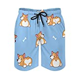 Harolion Mens Swim Trunks Cute Corgi Butt Quick Dry Beach Shorts Swimwear Bathing Suits