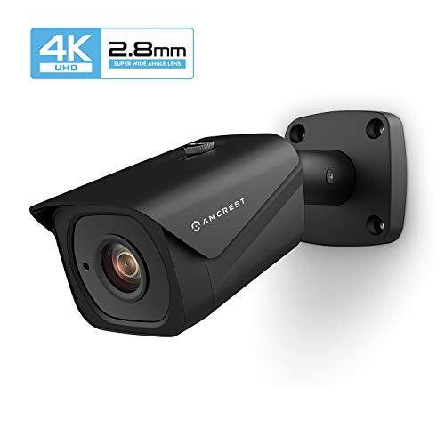 Amcrest UltraHD 4K (8MP) Outdoor Bullet POE IP Camera, 3840x2160, 131ft NightVision, 2.8mm Lens, IP67 Weatherproof, MicroSD Recording, Black (IP8M-2496EB)
