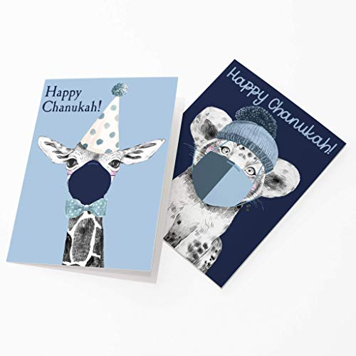 Covid Happy Chanukah Greetings Cards - 24 Quarantine Animal Cards w/White Envelopes - Masked Animal Hanukkah Designs - Personalized Stationery Printed in the USA by RitzyRose