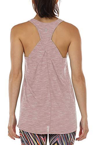 icyzone Damen Yoga Fitness Tank Top Lang - Training Jogging Ärmelloses Shirt Sport Oberteil Tops (M, Cameo Brown)