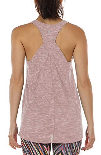 icyzone Damen Yoga Fitness Tank Top Lang - Training Jogging Ärmelloses Shirt Sport Oberteil Tops (L, Cameo Brown)