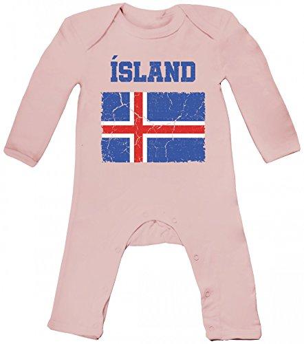 Iceland Fußball WM Fanfest Gruppen Fan Baby Strampler Langarm Schlafanzug Jungen Mädchen Wappen Island, Größe: 3-6 Monate,Powder Pink