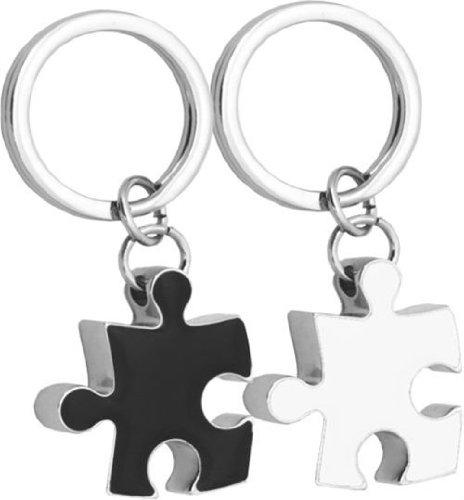 Llavero Doble Metal Piezas Puzzle Blanco/Negro para Parejas Novios o Matrimonios
