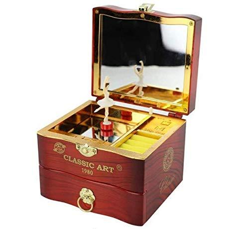 themesmith Caja de música para niña de baile giratorio de tocador, caja de joyería musical para niñas pequeñas, regalo de bailarina para niñas (marrón)