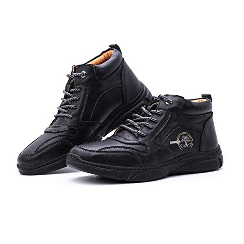 Camfosy Botas cálidas de Invierno para Hombre Tobillo Senderismo al Aire Libre Botas Chukka Piel sintética Zapatos Forrados de Piel Negro EU 43