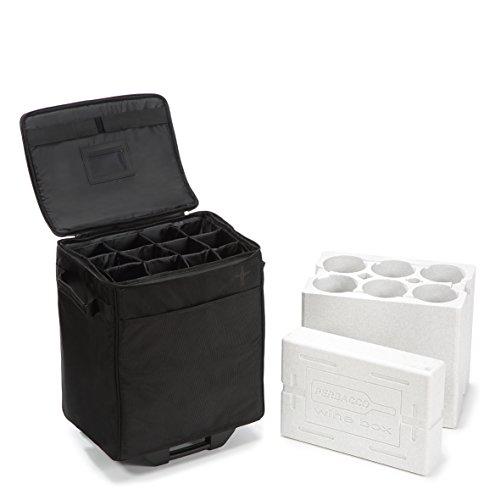 LAZENNE Elite Weinkoffer - Isolierte Kühltasche und Hartschalen-Reisekoffer - Picknick-Tasche für bis zu 12 Weinflaschen Plus TSA-konformer-Einsatz für 6 Flaschen für Wein-Transport im Flugzeug