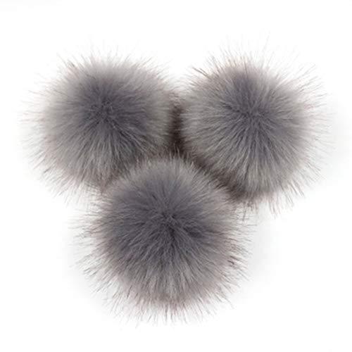 XINFULUK Süße Fuchspelz Pompon abnehmbare Fell Flauschigen Wackelball mit Druckknopf für DIY Hüte Caps Taschen Kleidung Schuhe Dekor-dunkelgrau