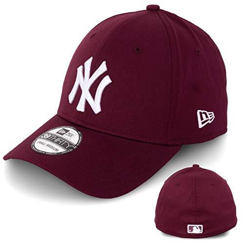 New Era - Gorra de béisbol para hombre, edición limitada, MLB, 39THIRTY, Stretch Fit, New York Yankees, Essential Basic burdeos/blanco XS/S