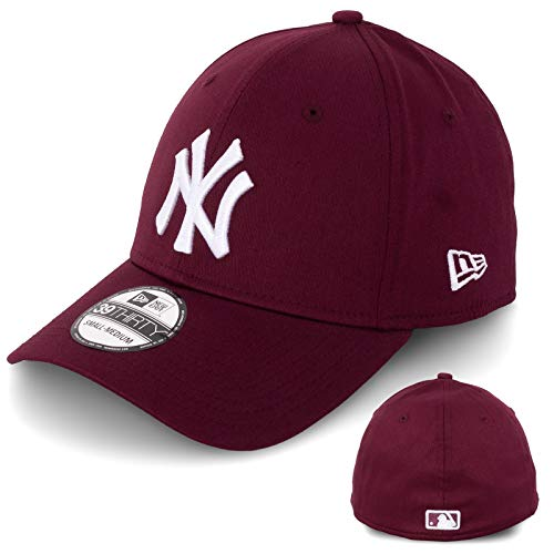New Era Gorra de béisbol para hombre, edición limitada, MLB, 39THIRTY Stretch Fit New York Yankees, Essential Basic burdeos/blanco XS/S