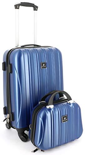 L/ég/ère USB Port R/ésistante aux Rayures Bleue REYLEO Valise Cabine 8 Roues pivotantes Serrure TSA Antichoc 55cm//32L