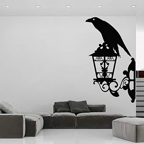 wZUN Crow Wall Sticker Decalcomania del Vinile Uccello Lanterna Home Decor Street Style Murale Rimovibile 28X50cm