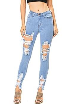 Vibrant Women s Juniors High Rise Jeans w Heavy Distressing Light Denim 11
