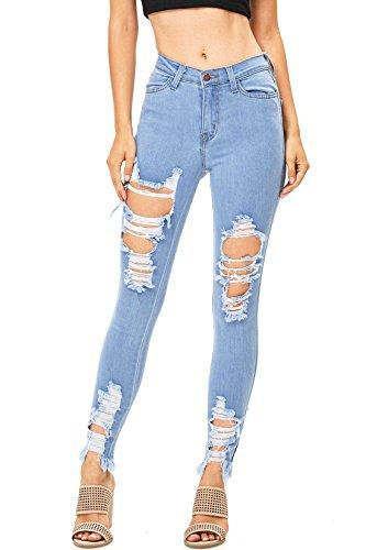 Vibrant Women's Juniors High Rise Jeans w Heavy Distressing (3, Light)