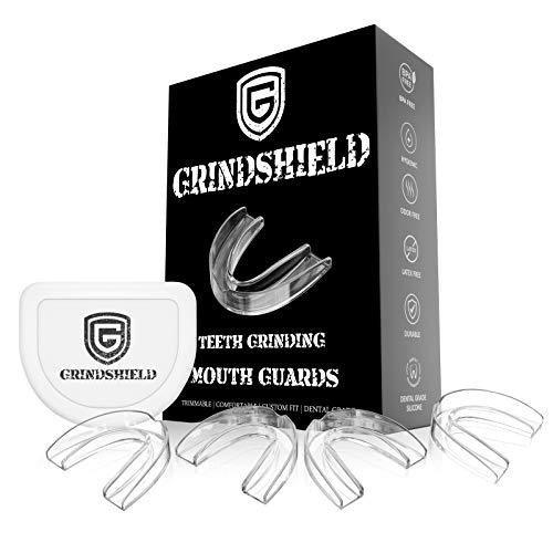 GRINDSHIELD Zahnschleifschutz - formbar, zuschneidbar - 4 Mundschützer zum Zähneschleifen & Koffer - Nachtschutz für Zähneknirschen, Clenching Night Guard, Bruxismus Mundschutz, Zahnschutz