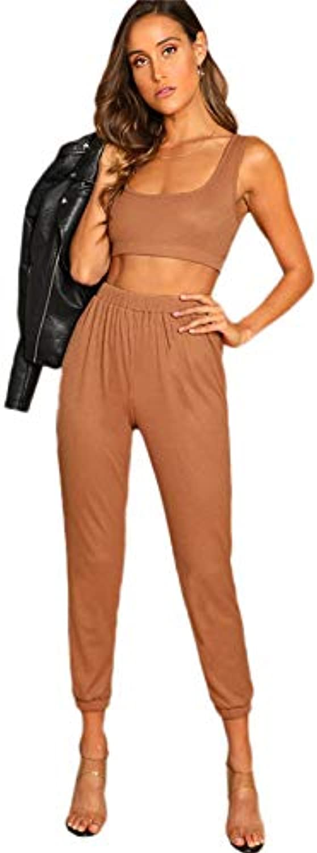 NANADEDIAN Summer Tracksuit for Women Rib Knit Sports Bra and Pants Set new Scoop Neck Sleeveless Two Piece Women's Set