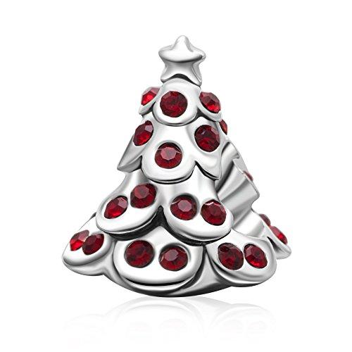 Día de Navidad colgantes plata de ley 925original cristal regalos de Navidad charms para pulsera de estilo europeo