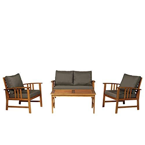 Outsunny 4er-Set Gartenmöbel Holz Sitzgruppe Garnitur Lounge mit Kissen Tisch Sessel Braun 3–4 Personen