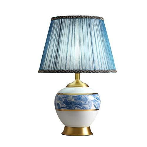 Tafellamp met outlet keramiek tafellamp, E27 bedlampje voor woonkamer slaapkamer met textiel lampenkap nachttafellamp