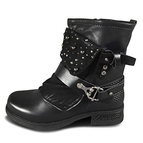 Damen Stiefel Biker Boots Stiefeletten gefüttert Nieten Used Look ST94 (ST94 Schwarz, Numeric_40)