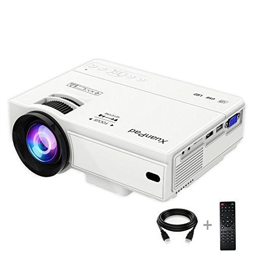 XuanPad X008 - Mini proyector LED Multimedia para Cine en casa, Compatible con Ordenadores portátiles de 1080p, PS4, Android, Smartphones, Xbox y TV, etc., Color Blanco