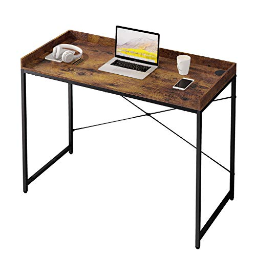 UMI. by Amazon Computer Desk,Small Writing Desk 43 Inches,Modern Simple PC Laptop Study Desk with Cable Management,Easy Assembly,Rustic Brown