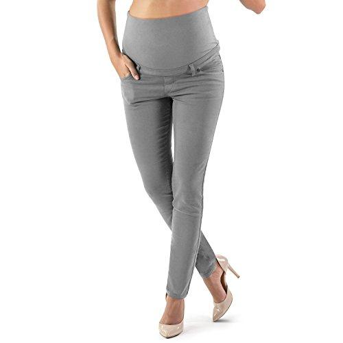 Pantalón Premamá Corte Slim Impecable, Material Elástico y Suave - Made in Italy (40, Gris)