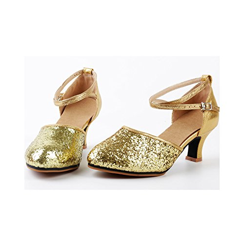 OCHENTA Damen Tanzschuhe Pumps Latin Schuhe Gesellschaftstanz Schuhe hochhackig Pailletten Sexy Gummi Gold Asiatisch 38/ EU 37,5 - 2