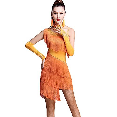 Señoras Vestido De Baile Borla Salón De Baile Tango Vestido De Baile Latino Traje De Competencia Falda De Baile con Flecos Y Lentejuelas para Mujer,Naranja,L