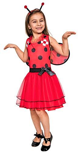 Magicoo Marienkäfer Kostüm Kinder Mädchen inkl. Kleid, Fühler & Flügel, von 92 bis 140 - Fasching Kostüm Kind (110/116)