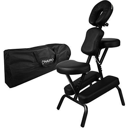 Naipo Massage Chair Stool Portable Foldable Therapy Chair with Free Oxford Cloth Carry Case for Tattoo Salon Reiki Beauty Swedish Massage