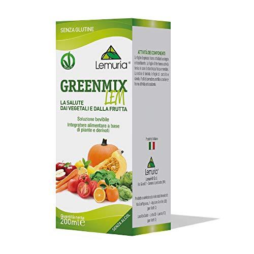 Lemuria - Greenmix Lem, Integratore Alimentare a Base Di Piante e Derivati, Utile per Abitudini Alimentari Scorrette - 200 ml