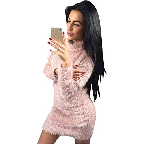 Dames Kleding Winter Derss Pure Kleur Wol Warm en Comfortabel Harige Lange Mouw Coltrui Shirt Een Stap Rok, Roze, L
