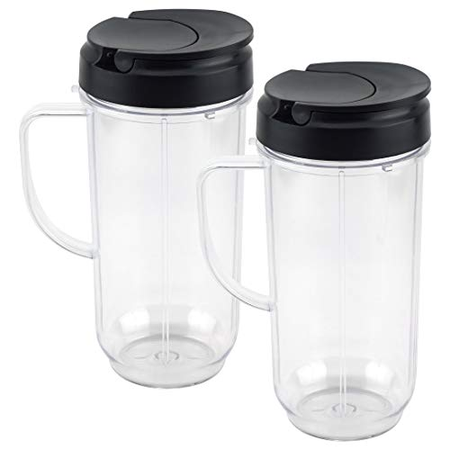 2 Pack 22 oz Tall Cup with Flip Top To-Go Lid Replacement Parts for Magic Bullet 250W MB1001 Blenders Kansas
