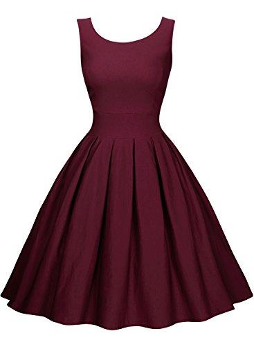 Miusol Damen Elegant Rundhals Traegerkleid 1950er Retro Cocktailkleid Faltenrock Kleid weinrot Groesse S - 5
