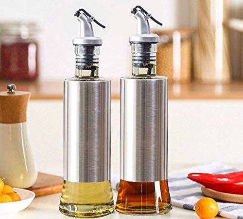 Gelcoz Stainless Steel Olive Oil Dispenser Bottle, Glass Cooking Oil & Vinegar Cruet for Seasoning Set for Dining Table Kitchen and 500 ml Steel Pack of 2