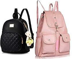 SAHAL WOMEN PU Leather Backpack School Bag Student Backpack Women Travel bag 10 L Backpack (BLACK BABYPINK1002)