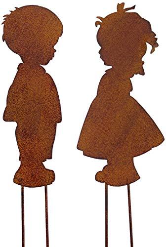 B2S BACK2SEASON Metall Stecker Junge + Mädchen zum Stecken Rost-Optik Stecker Paar H=25 cm 2er Set
