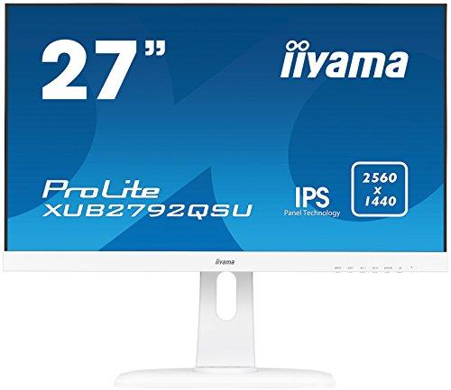 iiyama Prolite XUB2792QSU-W1 68,5cm (27Zoll) IPS LED-Monitor QHD (DVI, HDMI, DisplayPort, USB3.0, Ultra-Slim-Line, FreeSync, Höhenverstellung, Pivot) weiß