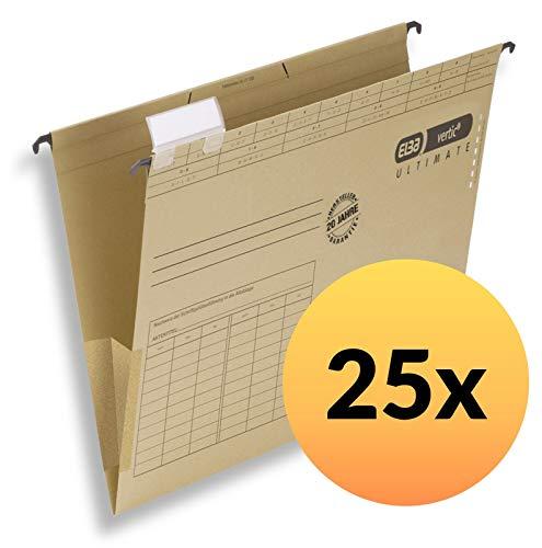ELBA 100081040 Hängetasche vertic ULTIMATE 25er Pack aus Recycling-Karton für DIN A4 seitlich geschlossen braun Blauer Engel ideal für die lose Blatt-Ablage im Büro und der Behörde