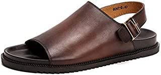 FYXKGLa Summer Men's Shoes Outdoor Sandals and Slippers Non-Slip Genuine Leather Men's Beach Shoes Casual Fashion Leather Sandals (Color : Coffee, Size : 43 EU)