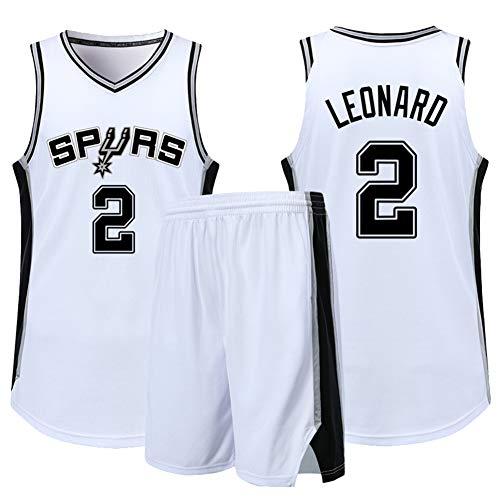 BXWA-Sports Jersey di Pallacanestro NBA # 2 Kawhi Leonard Spurs Adulti Bambini Unisex Competizione Sport Sport Abbigliamento Abbigliamento Stickswear Sportivo,Bianca,S