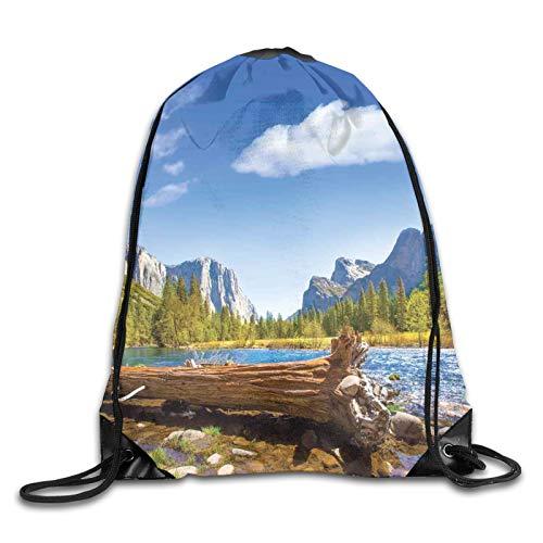 Bolsa con cordón para gimnasio, Yosemite Merced River El Capitan, media cúpula en el Parque Nacional de California, con cordón, mochila para gimnasio, mochila de hombro para hombres y mujeres