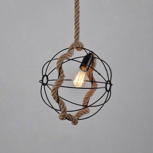 Boule lustre, pays loft en fer forgé corde boule lustre restaurant bar table globe vintage en fer forgé lustres Taille: 36 * 36 + 100 cm