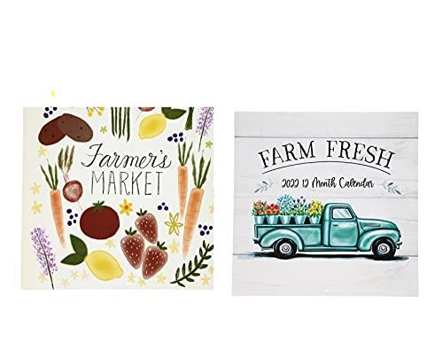 Calendario 2022 – 12 meses (mercado de agricultores) y 2022 – Calendario de 12 meses (granja fresca) con planificador de 2 años (2022 – 2023) paquete de 3